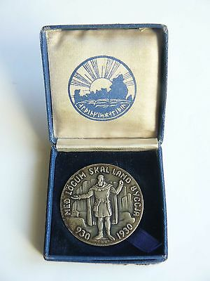 Iceland Medallic 1000 Years Althing Silver 5 Kronur 1930 UNC in Original Box RRR