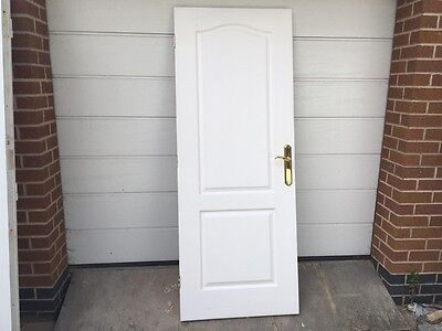 Internal Door white arched top 2 panel with grain effect and brass handles