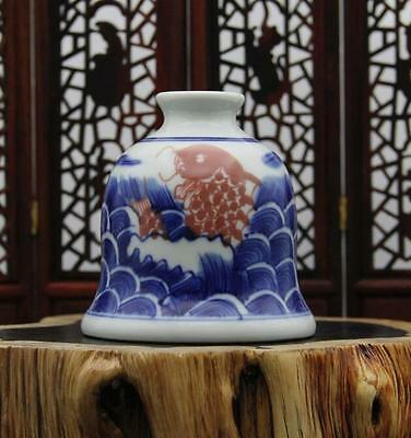 chinese ancient Blue and white youligong  porcelain sculpture fish Water jar