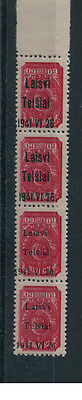 Germany Lithuania Occup. 7K Strip 4 With 2 Varieties Telsiai Mnh Signed Krischke