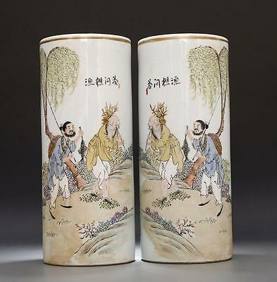 china Colored glaze porcelain sculpture figure Calligraphy and painting cylinder