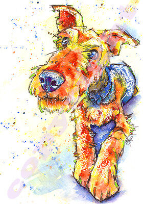 AIREDALE TERRIER POSTER of ORIGINAL WATERCOLOUR Dog Painting Picture by Josie P