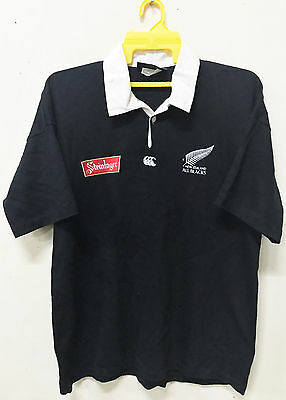 Vtg 1994 Canterbury New Zealand All Black Rugby Jersey L Polo Shirt Steinlager