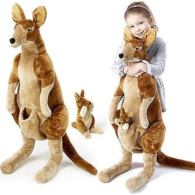 "new Melissa & Doug 8834 Lifelike Kangaroo and Joey Lifelike Stuffed Animal 35"" H"