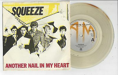"""SQUEEZE Another Nail In My Heart - Clear Vinyl EX/VG+ Cond 1980 A&M 7"""" Single"""