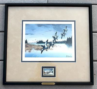 BEAUTIFUL 1988 DUCKS UNLIMITED FRAMED STAMP SIGNED NUMBERED PRINT by Les C Koubo