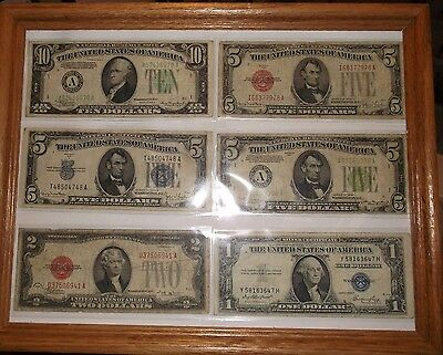 Old Money 1934, RED, BLUE, GREEN SEALS, $28 face value