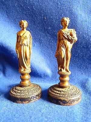 Rare pair of bronze neoclassical figures on iron bases – Victorian