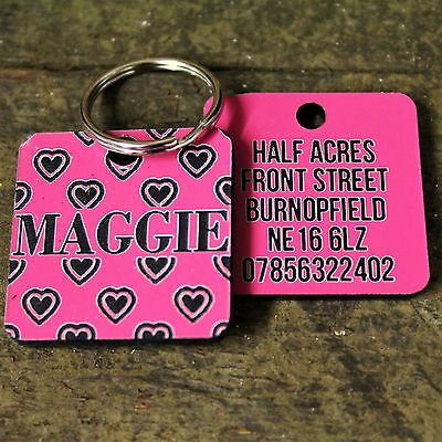 Pink Love Hearts Pet Dog Tag ID Name Personalised Engraved Cat Tags Collar Gift