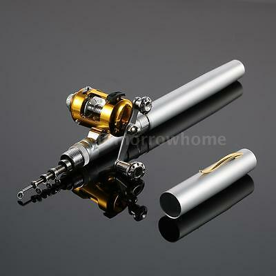Aluminum Alloy Fishing Rod Reel Combo Kit Pen Fishing Pole Reel Set Silver S9G8