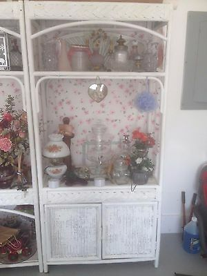 Vintage White Wicker Cabinet Stand Shelf With Doors 6' Tall