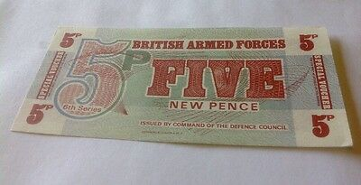 British Armed Forces, 5 New Pence Note / Special Voucher, 6th Series, Crisp!!!!!