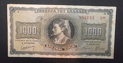 GREECE 1000 Drachmai 1942 BANKNOTE CURRENCY WORLD PAPER MONEY GRIECHENLAND GRECE