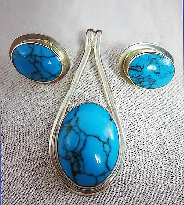 Sterling Silver & Turquoise Pendant and Earrings Set.