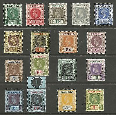 Gambia Sg86-102 The 1912-22 Gv Set Of 17 Mounted Mint Cat £200
