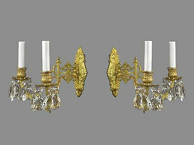 PAIR 2 Arm Bronze & Crystal Sconces c1900 Antique Vintage French Gold Gilded