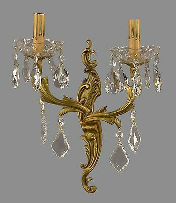 SET OF FOUR French Rococo Bronze & Crystal Sconces c1930 Vintage Antique Gold