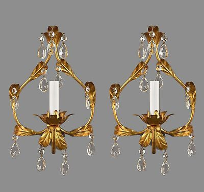 Italian Gilded Tole & Crystal Sconces c1950 Vintage Antique Gold Gilt French