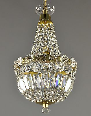 Crystal & Gold Brass Empire Chandelier c1950 Vintage Antique Restored Pendant