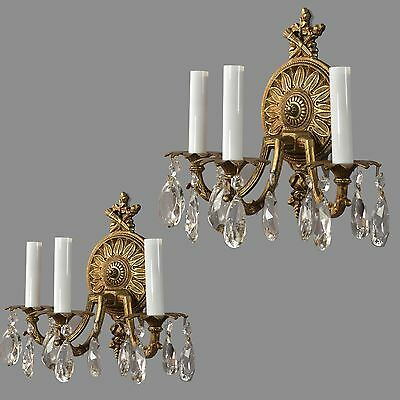 Spanish Brass & Crystal Sconces c1950 Vintage Antique French Style Gold Wall
