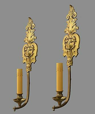 "Large 24"" French Bronze Gold Wall Sconces c1920 Vintage Antique Gilded Lights"