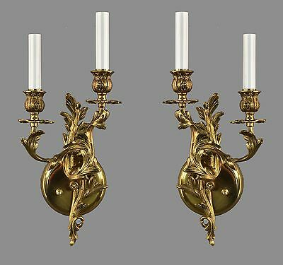 Italian Brass French Rococo Style Sconces c1950 Vintage Antique Gold Restored