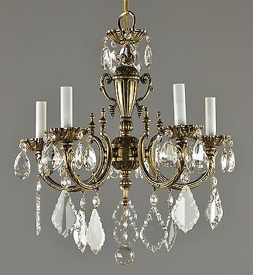 Spanish Brass & Crystal Chandelier c1950 Vintage Antique Glass Ceiling Light
