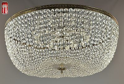 "HUGE 42""d Crystal Flush Mount Chandelier c1940 Vintage Antique French Style"