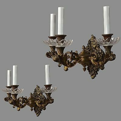 Heavy Cast Bronze & Crystal Wall Sconces c1900 Vintage Antique French Lights