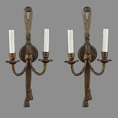Italian Brass Regency Wall Sconces c1950 Vintage Ornate French Style Antique
