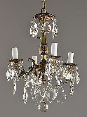 Spanish Brass & Crystal Chandelier c1950 Vintage Antique Ceiling Light French