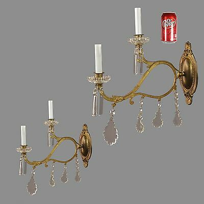 "LARGE 20""x19"" Marie Therese Antique Sconces c1930 Vintage Bronze Gold Wall Light"