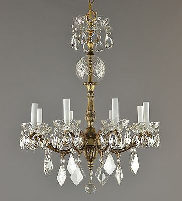 Italian Brass & Crystal Chandelier c1950 Vintage Antique Gold Glass Ceiling