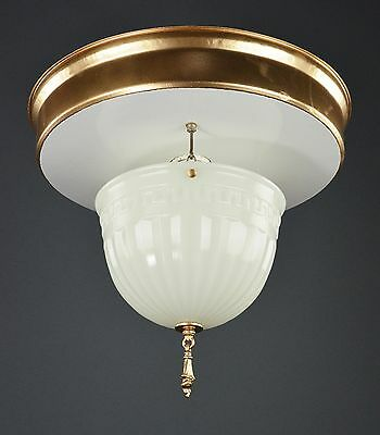 Early Electric Milk Glass Ceiling Pendant Gold Flush Light c1915