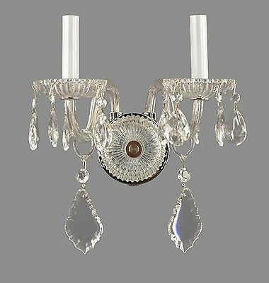 Crystal French Style Wall Sconces c1950 Vintage Antique Ornate Wall Lights