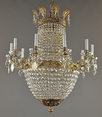 LARGE Figural Empire Bronze & Crystal Chandelier c1940 French Style Antique