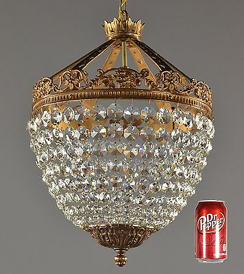 Empire Crystal & Bronze Crown Chandelier c1930 PAIR AVAILABLE