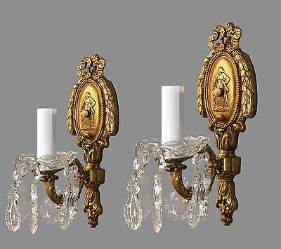 Italian Figural Brass & Crystal Sconces c1930 Vintage Antique French Style Light