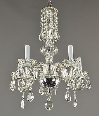 Czech Crystal Pendant Chandelier c1950Vintage Antique Glass Ceiling Light French