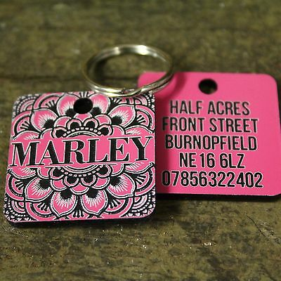 Pink Lilly Flower Pet Dog Tag ID Name Personalised Engraved Cat Tags Collar Gift