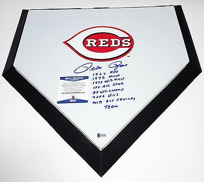 Pete Rose Signed Full Size F/S Home Plate Reds BAS Cert I55395 7 Inscriptions