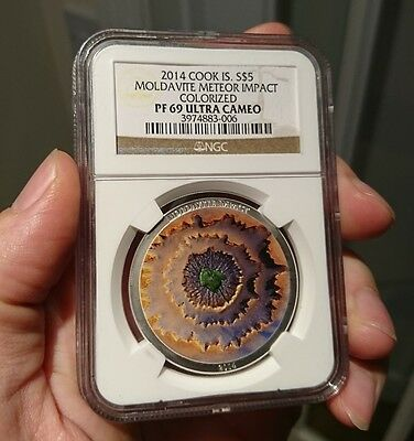2014 Moldavite Meteorite Concave Silver Coin. NGC PF69