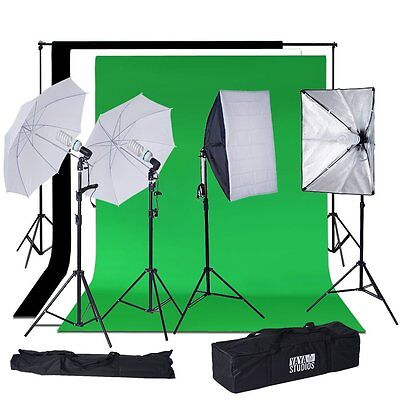 1200 Watt Umbrella & Continuous Lighting Photo Studio Kit With Backdrops