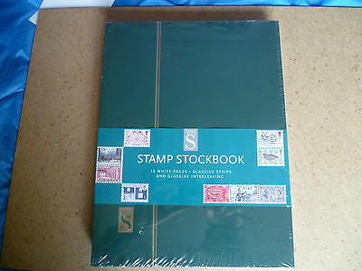 WHSmith Stamp Stockbook Green, Glassine Strips & Interleaving 16 Pages new