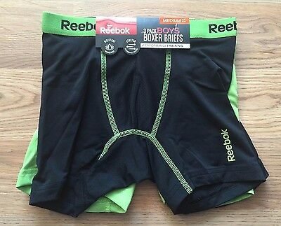 NWT Boy's REEBOK Green Black 3 Pack Performance Training Boxer Briefs M 8/10