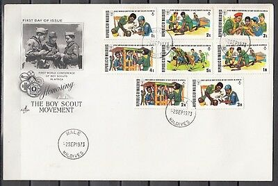 Maldive, Scott cat. 427-434. World Scout Conference issue. First day cover.