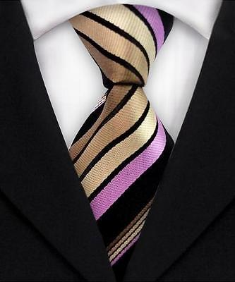 Classic Striped Mens Ties Jacquard Woven Silk Necktie Black Gold DM408