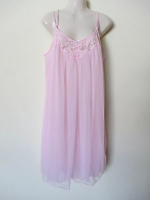 Vintage Vanity Fair Pink Double Layer Nylon Chiffon Nightgown Lingerie Large Euc