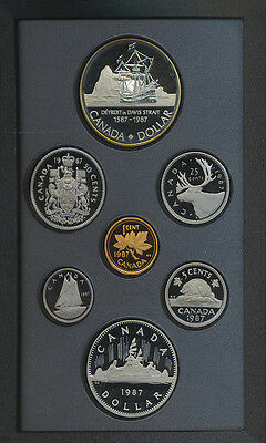 1987 Canada Double Dollar $1 Proof Coin Set Silver COA Davis Strait