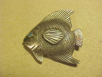 Estate Fresh...Hand Signed Artisan Fish Pin / Pendant with Opal Eye Sterling